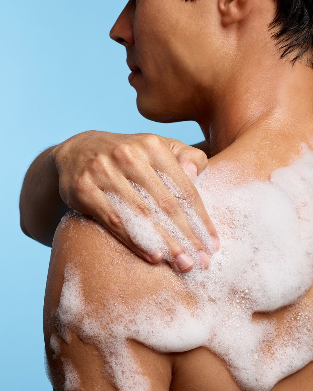 Body Wash lather on shoulder