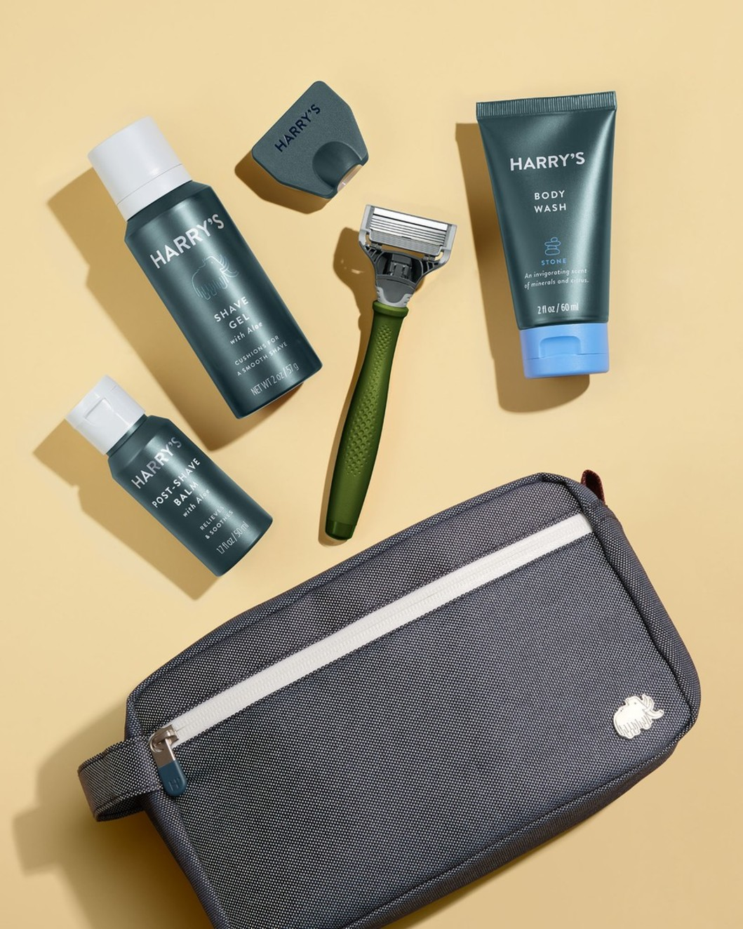 Deluxe Travel Kit - Olive Handle, Stone Body Wash