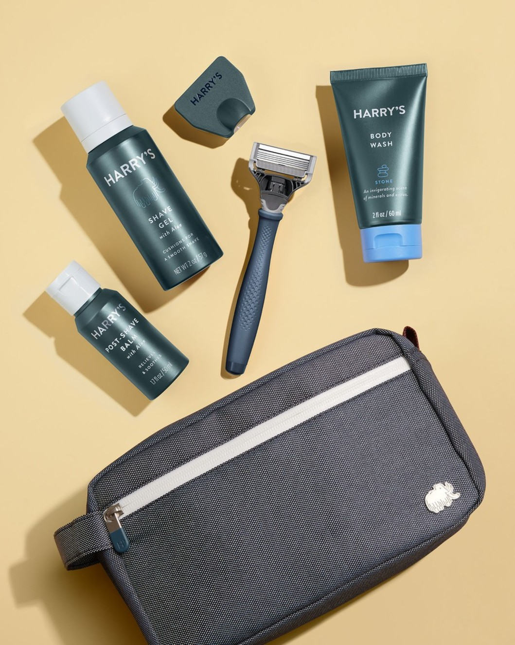 Deluxe Travel Kit - Blue Handle, Stone Body Wash